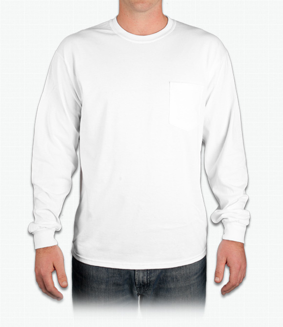 Custom Gildan Ultra Cotton Long-Sleeve T-Shirt w/ Pocket - Design ...